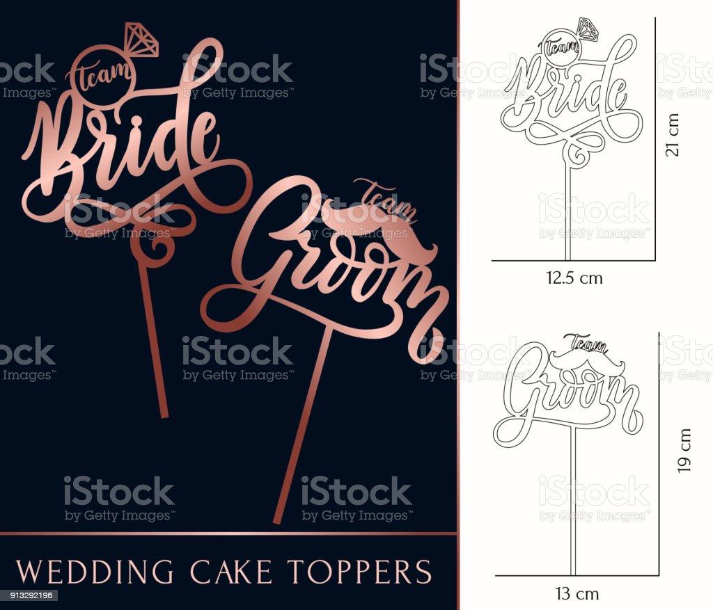 equipe noiva e topos de bolo do noivo para laser ou corte de trituração da equipe. - ilustração de arte em vetor