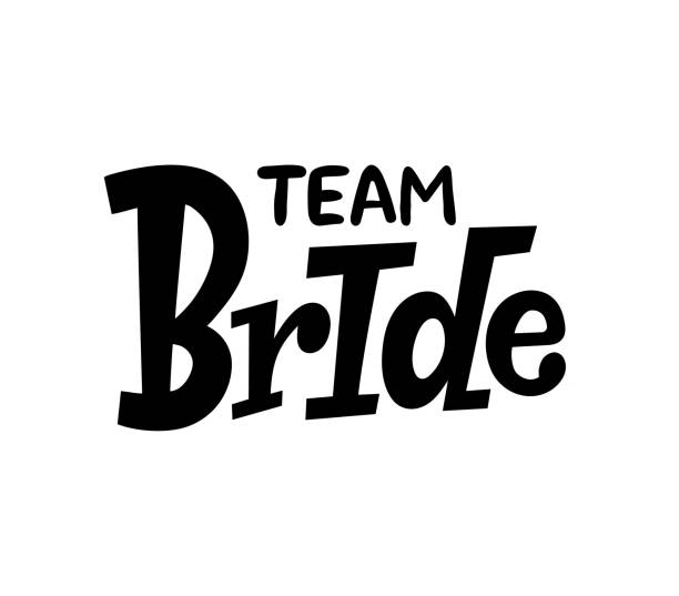 Team Bride sign on white background. Bachelorette party/ Bridal shower/ Hen party calligraphy element for invitation card, banner or poster graphic design. Vector lettering. vector art illustration