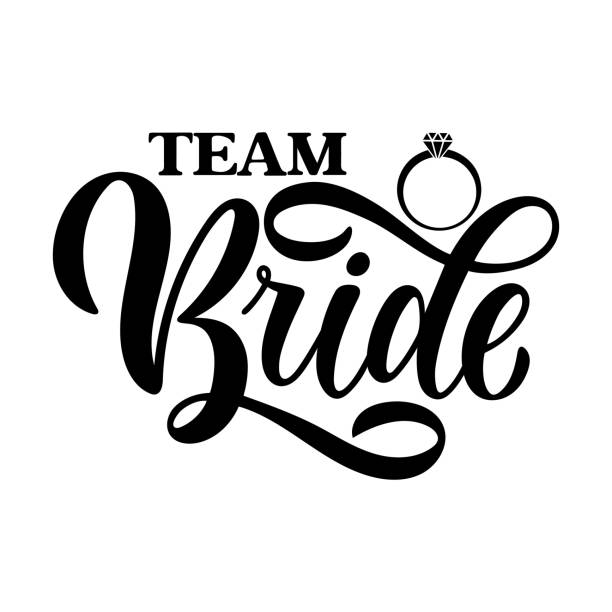 Team Bride tag on white background and engagement ring. Bachelorette party/ Bridal shower/ Hen party calligraphy element for invitation card, banner or poster graphic design. Vector lettering. vector art illustration