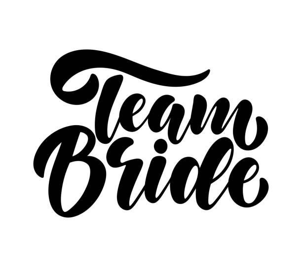 Team Bride tag on white background. Bachelorette party/ Bridal shower/ Hen party calligraphy element for invitation card, banner or poster graphic design. Vector lettering. vector art illustration