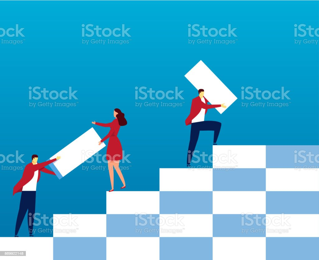 Team build up the stairs royalty-free team build up the stairs stock illustration - download image now