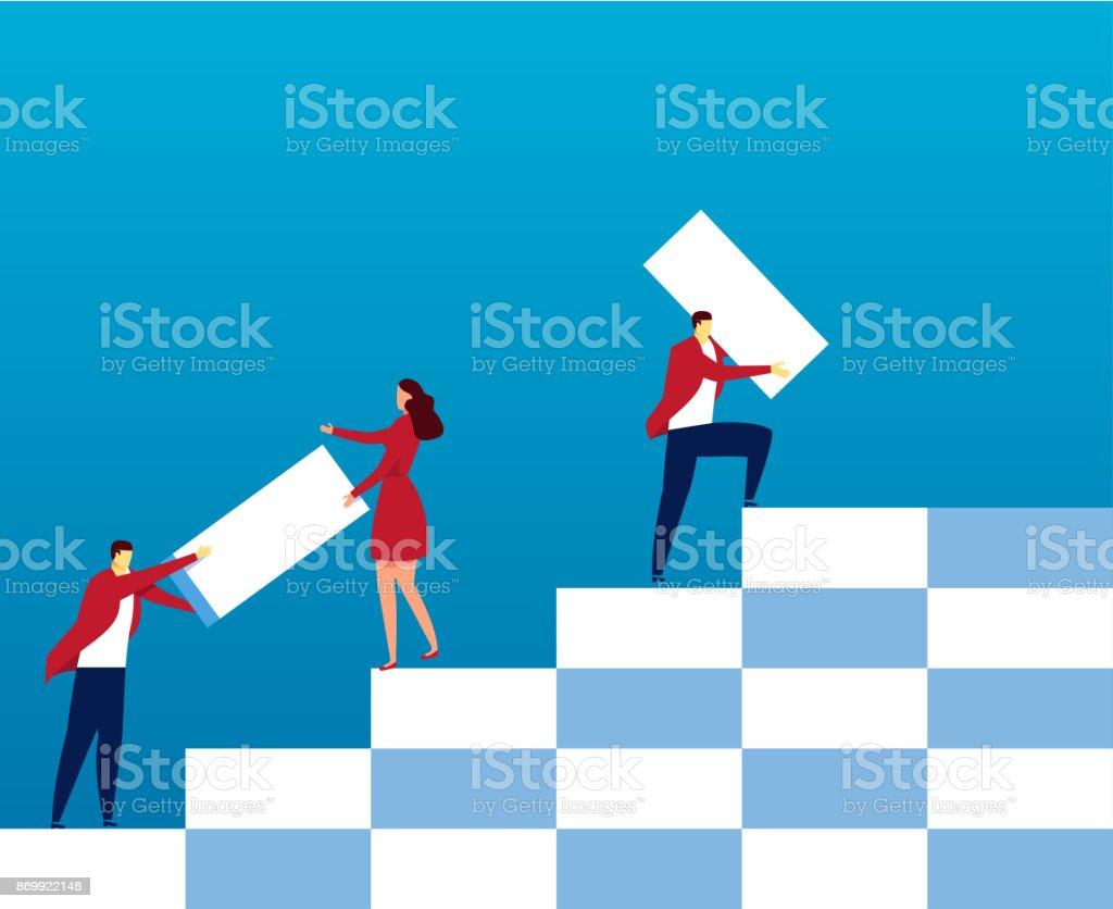 Teambuild die Treppe hinauf – Vektorgrafik
