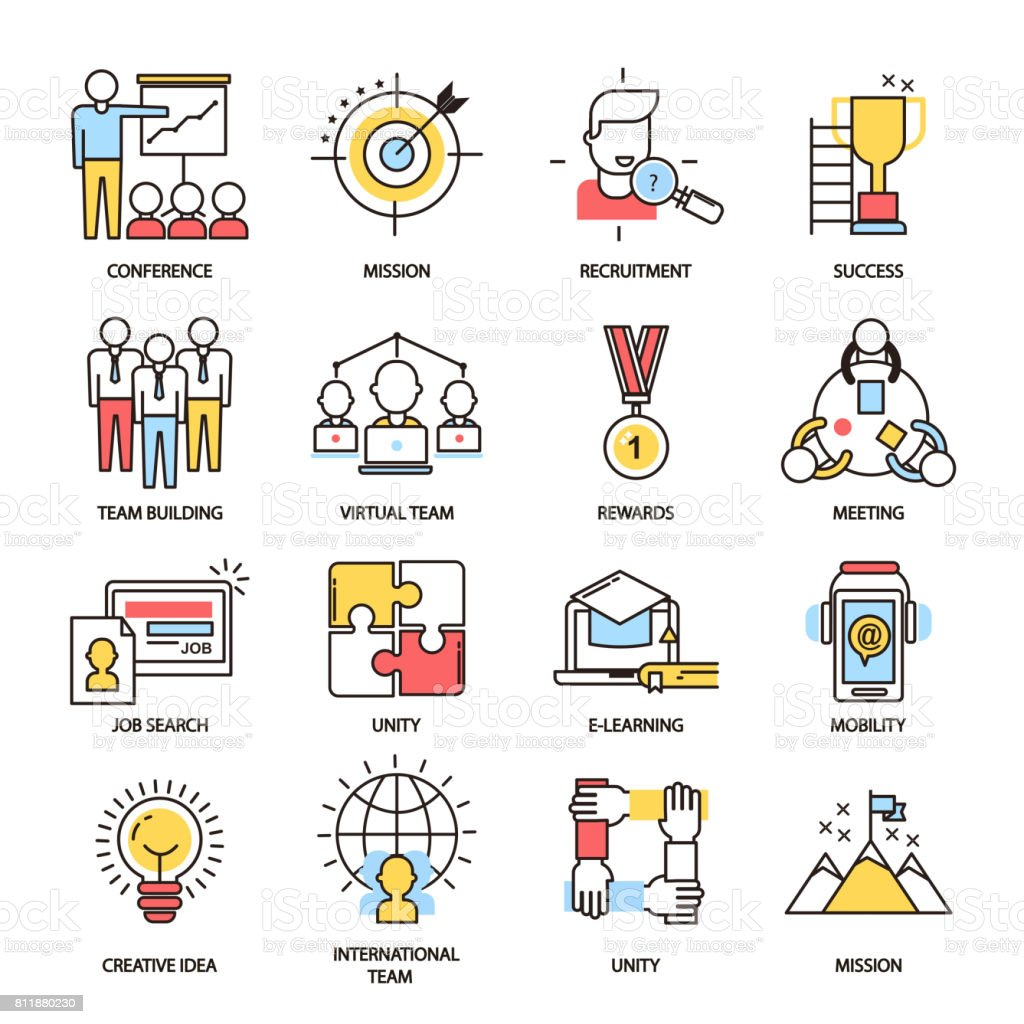Team Building Business Communication Outline Icons Vector