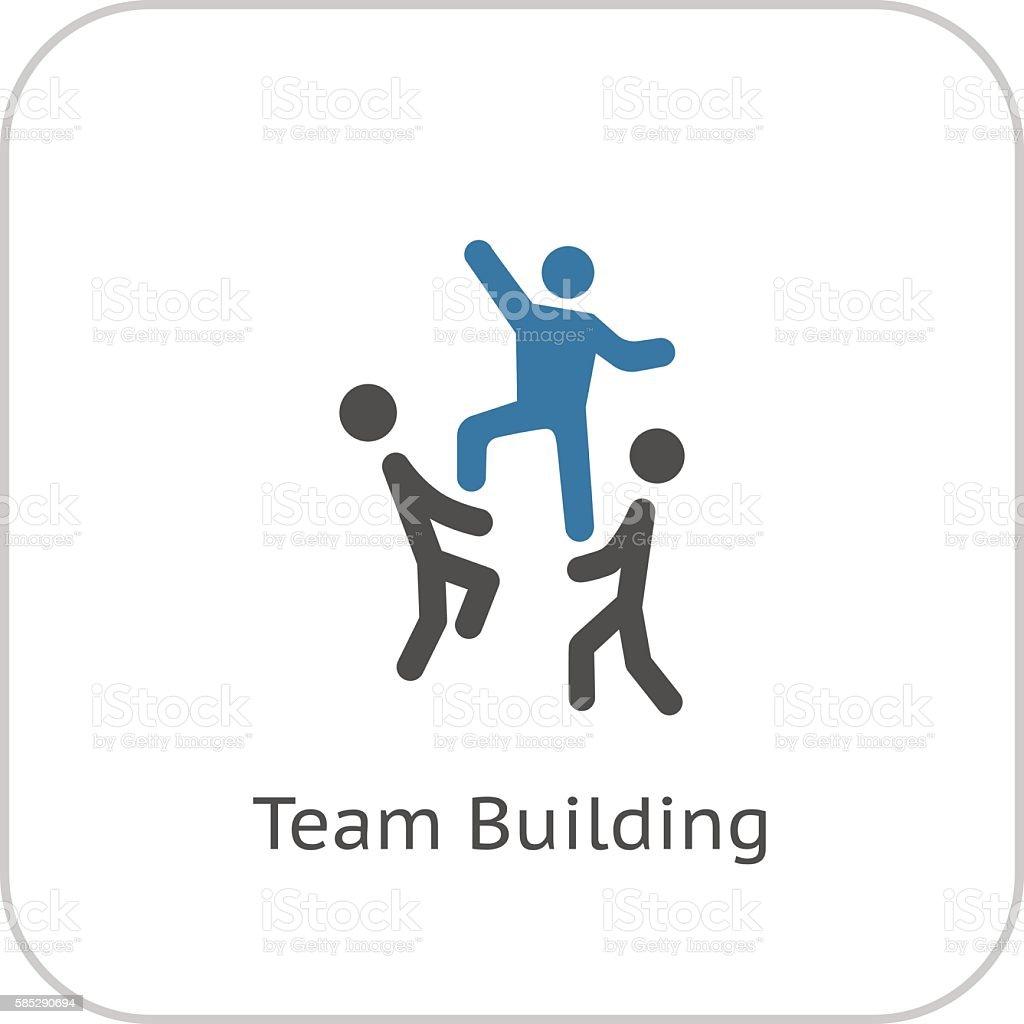Team Building Concept Icon. Flat Design. vector art illustration