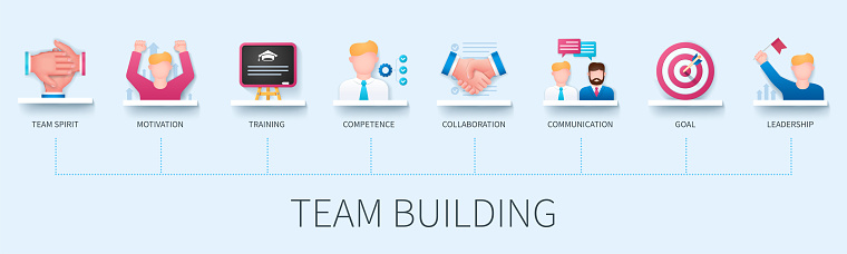 Team building infographic in 3D style