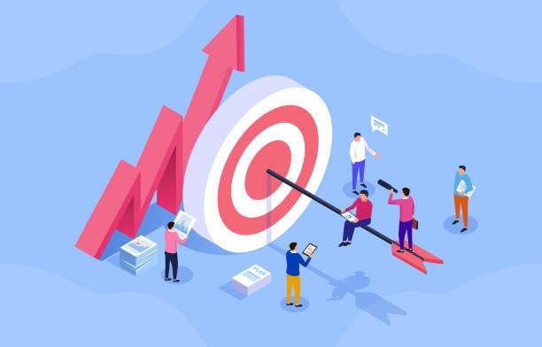 cele biznesowe zespołu, aktywni pracownicy, marketing w mediach społecznościowych - rzut izometryczny stock illustrations
