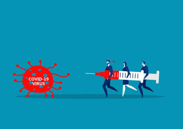 ilustraciones, imágenes clip art, dibujos animados e iconos de stock de los hombres de team business tienen grandes inyecciones para luchar contra el tímido vector de ilustrador coronavirus de 19. - covid 19 vaccine
