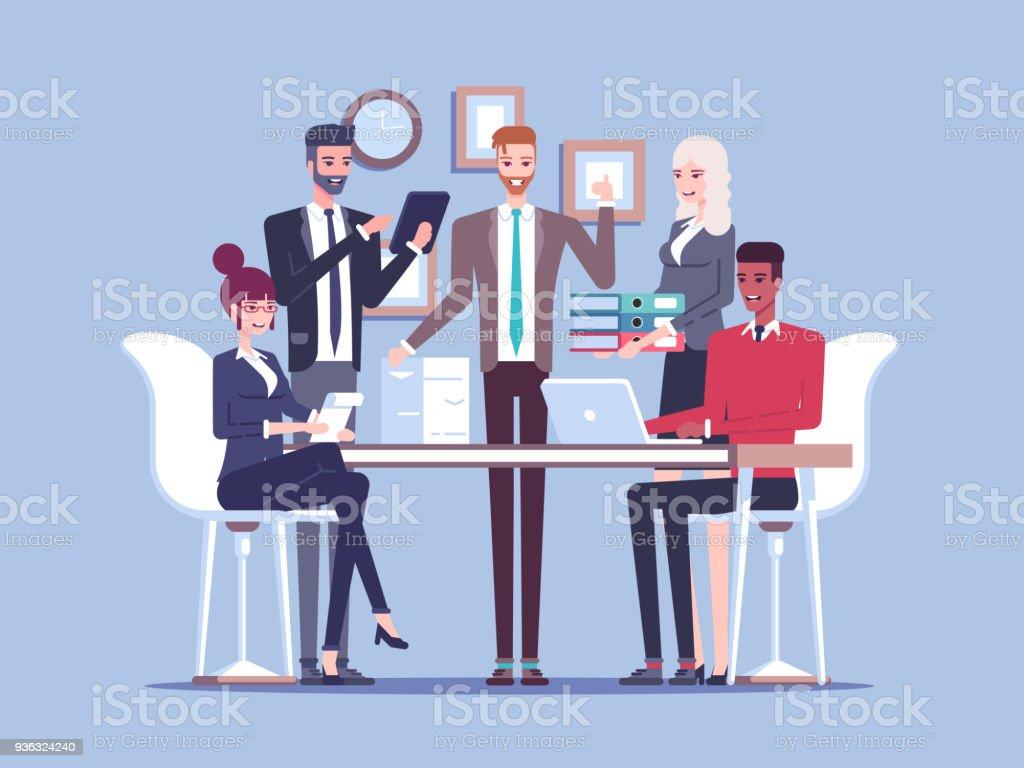 Team Geschaftsleute Arbeiten Zusammen Im Buro Sitzen Und Stehen Auf