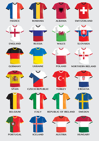 team buttons with flag design of european football countries