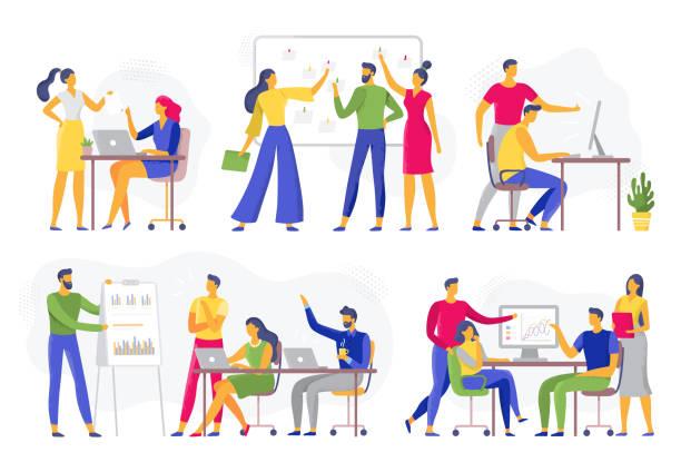 ilustraciones, imágenes clip art, dibujos animados e iconos de stock de colaboración en equipo. reunión de taller de trabajo en equipo, lluvia de ideas creativa y equipos de trabajadores de oficina conjunto de ilustración vectorial plano - reunión evento social