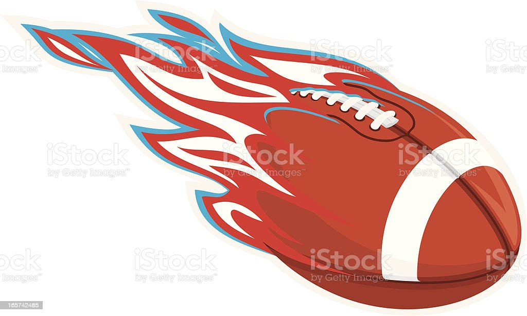 Team Color Flaming Football vector art illustration