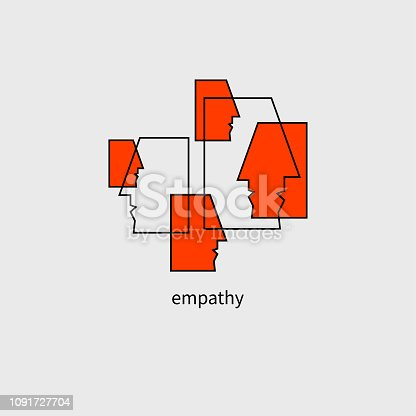 Team communication, staff, business communication, empathy icon, society, psychology icon. Vector illustration