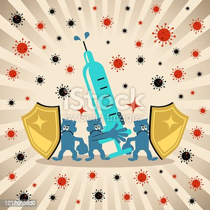 istock Team cooperate in the battle against (use a big syringe and a shield to fight against) the new coronavirus (bacterium, virus) 1217055830