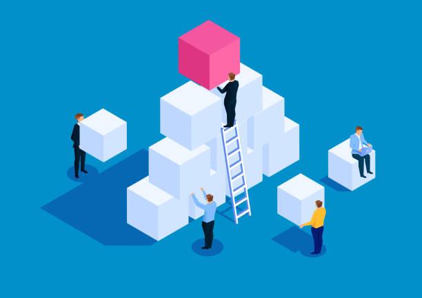 illustrazioni stock, clip art, cartoni animati e icone di tendenza di concetto di business per lo sviluppo del team - costruire