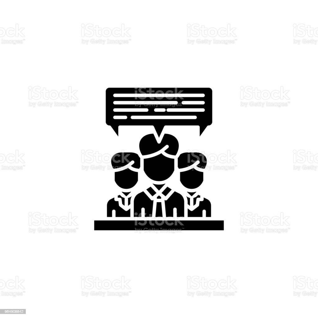 Team discussion black icon concept. Team discussion flat  vector symbol, sign, illustration. royalty-free team discussion black icon concept team discussion flat vector symbol sign illustration stock vector art & more images of adult