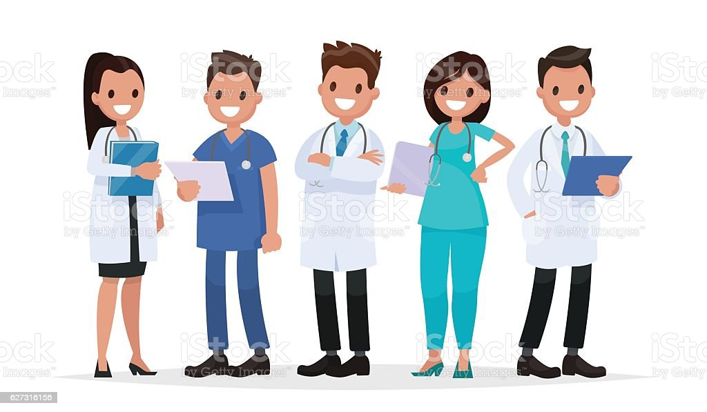 Team doctors on a white background. Vector illustration - ilustración de arte vectorial