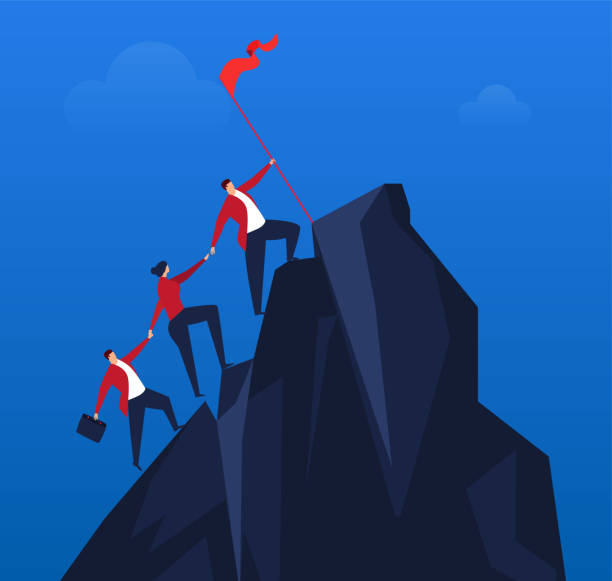 Team effort to climb to the top Team effort to climb to the top climbing stock illustrations