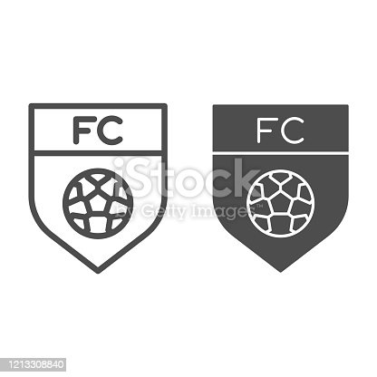 Team emblem line and solid icon. Soccer or football club shield with ball symbol, outline style pictogram on white background. Sport sign for mobile concept and web design. Vector graphics