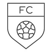 Team emblem thin line icon. Soccer or football club shield with ball symbol, outline style pictogram on white background. Sport sign for mobile concept and web design. Vector graphics