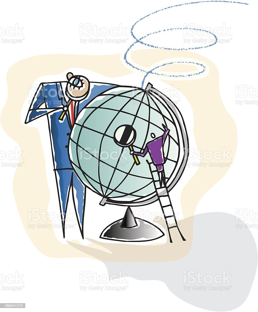 Team Examining Globe royalty-free stock vector art