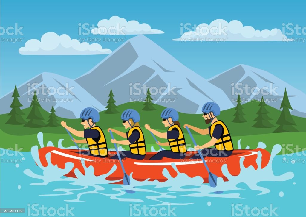 Team , group of people, man and woman whitewater rafting on river. cartoon mountain forest landscape on background vector art illustration