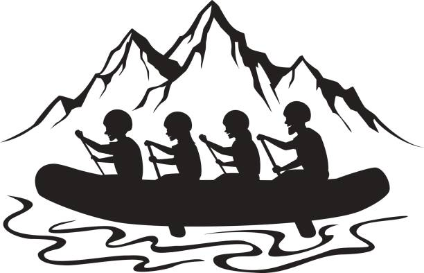 Best White Water Rafting Illustrations, Royalty-Free