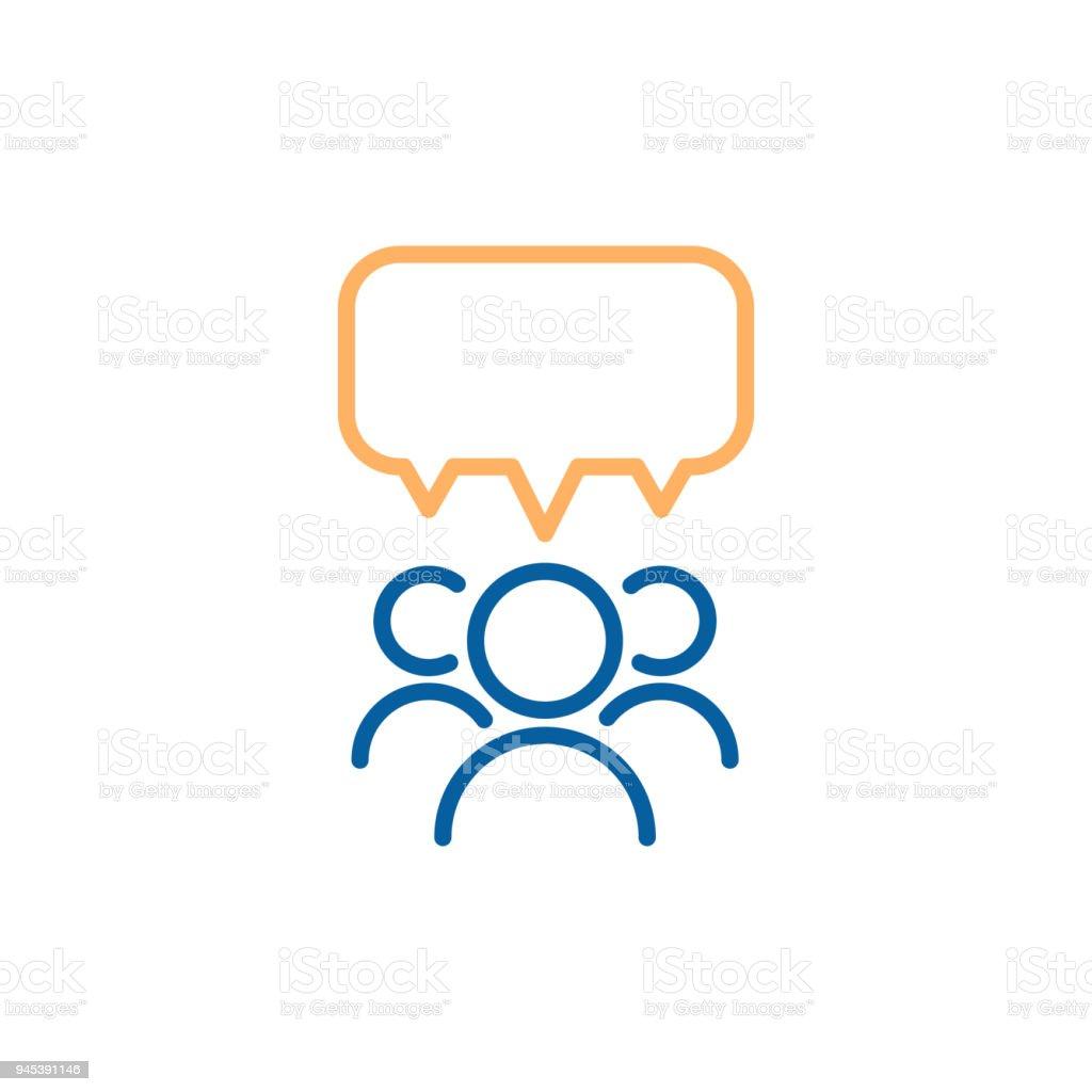 Team group of people speaking and debating with a speech bubble. Vector thin line icon design illustration. team group of people speaking and debating with a speech bubble vector thin line icon design illustration - immagini vettoriali stock e altre immagini di adulto royalty-free