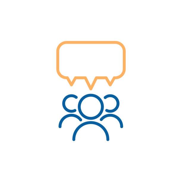 grupa ludzi przemawiających i debatujących z dymem. wektor cienka linia ikona ilustracja projektu. - grupa przedmiotów stock illustrations