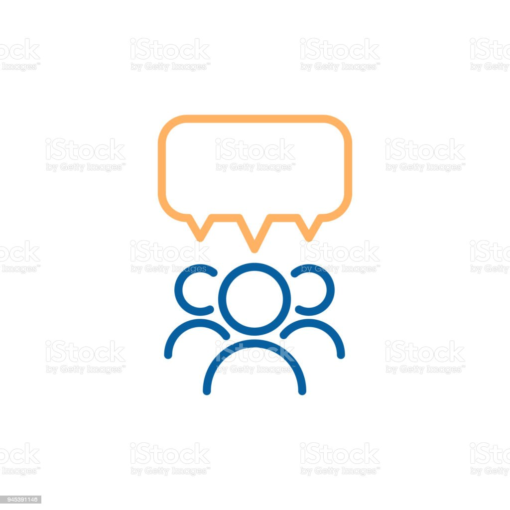 Grupo de equipe de pessoas falando e debatendo com uma bolha do discurso. Vector linha fina ícone design ilustração. - ilustração de arte em vetor