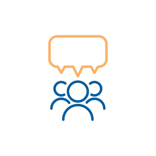 Team group of people speaking and debating with a speech bubble. Vector thin line icon design illustration. vector eps10 meeting stock illustrations
