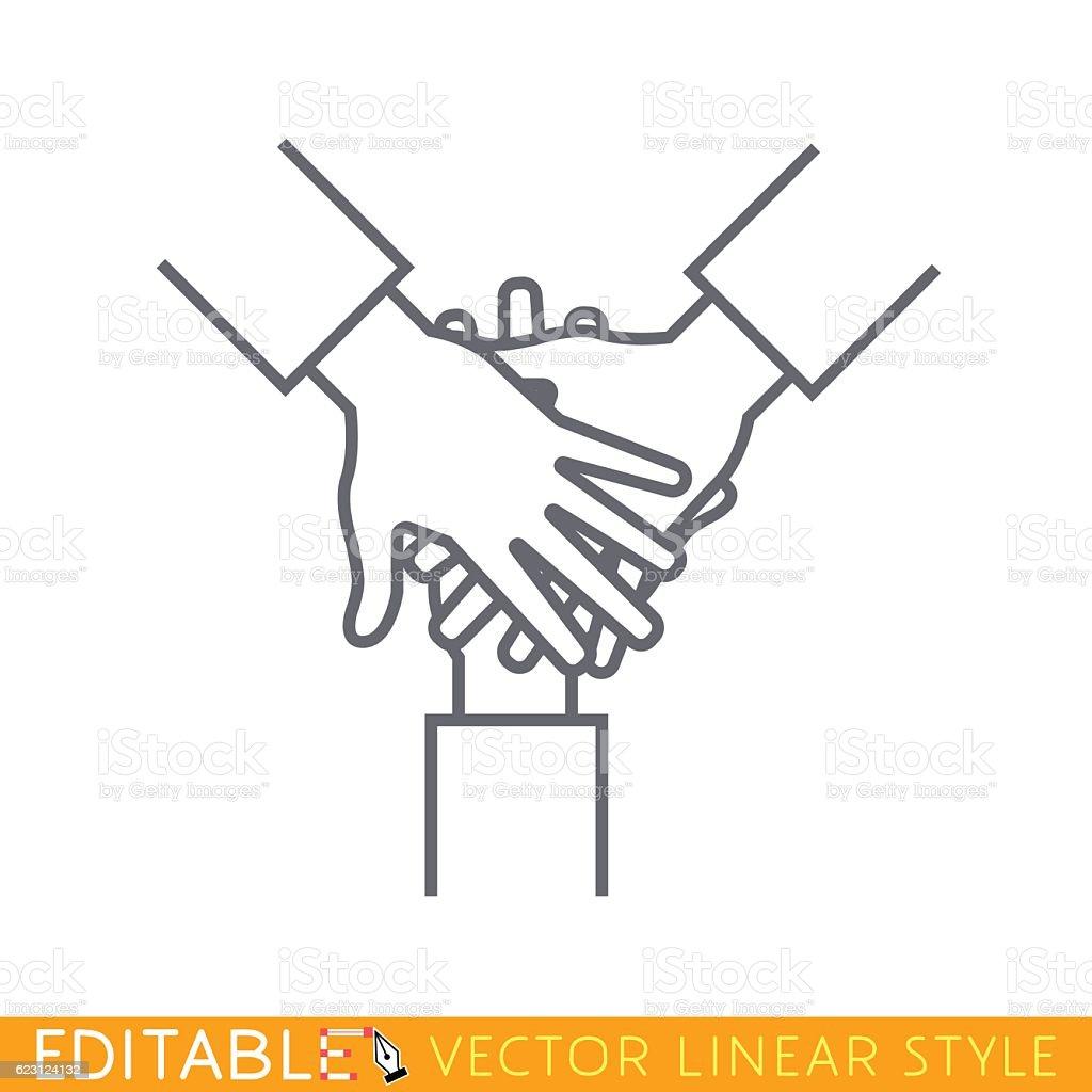 Team Hands Outline Sketch Icon Stock Illustration - Download Image