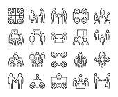 Team icon. Meeting line icons set. Vector illustration