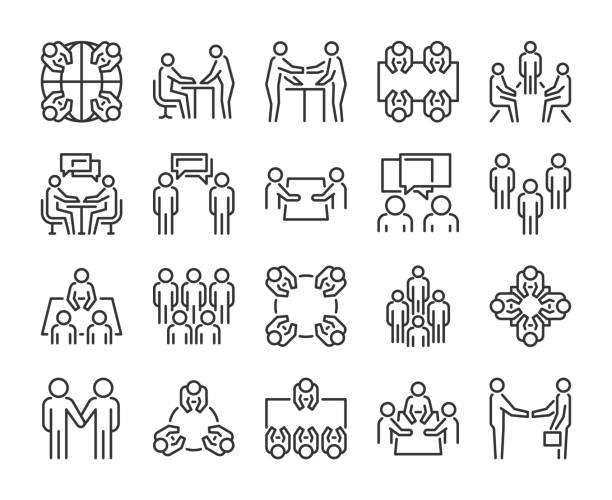 Team icon. Meeting line icons set. Vector illustration. Team icon. Meeting line icons set. Vector illustration meeting stock illustrations