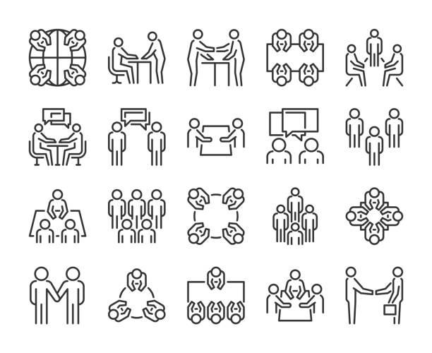 stockillustraties, clipart, cartoons en iconen met team icoon. vergadering lijn icons set. vector illustratie. - group of fans talking