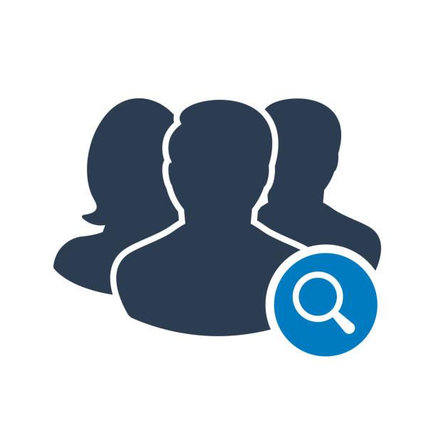 ilustraciones, imágenes clip art, dibujos animados e iconos de stock de icono del equipo con la muestra de investigación. icono del equipo y explorar, buscar, inspeccionar el símbolo - zoom meeting