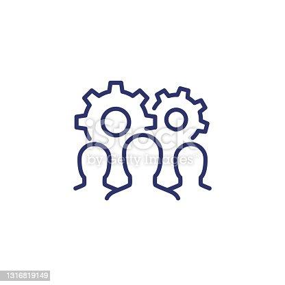 istock team interaction, HR concept line icon on white 1316819149