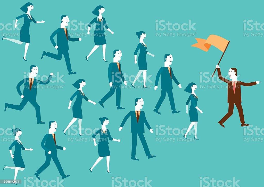 Team Leader Showing The Way | New Biz vector art illustration