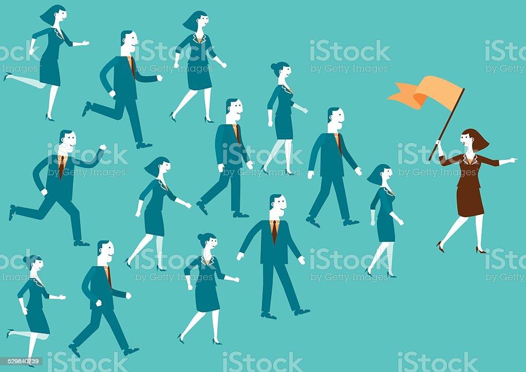 Líder de equipo que indican el camino/Nuevos negocios - ilustración de arte vectorial