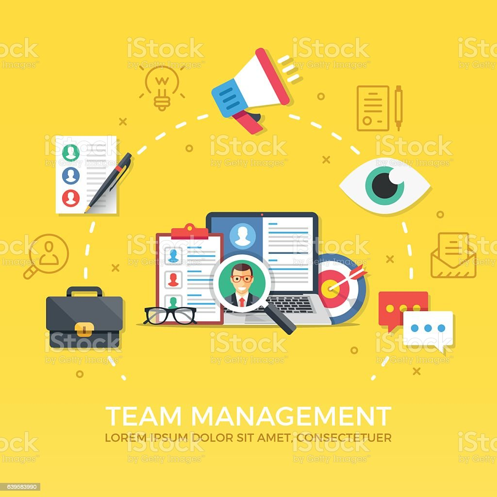 Team management. Human resources concepts set. Flat design vector illustration vector art illustration