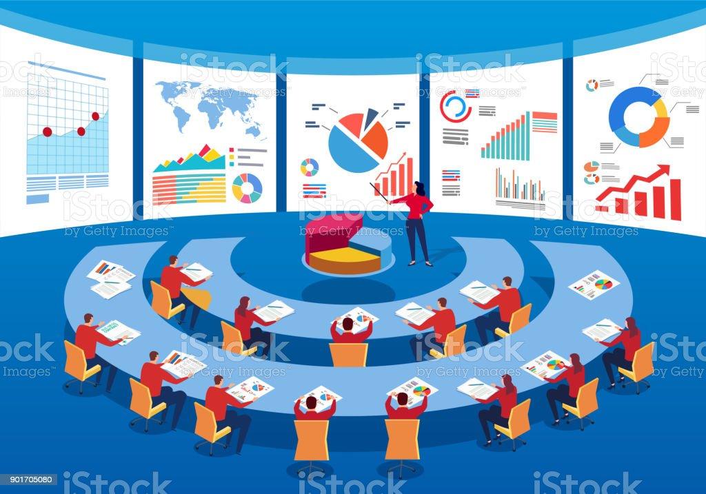 Team meeting vector art illustration