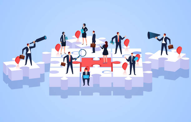 Team members standing on puzzles, teamwork and puzzles vector art illustration