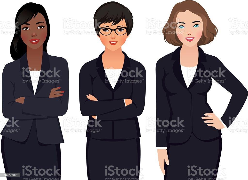 Team Multi Ethnic Womans Businessmen  in a Suit vector art illustration