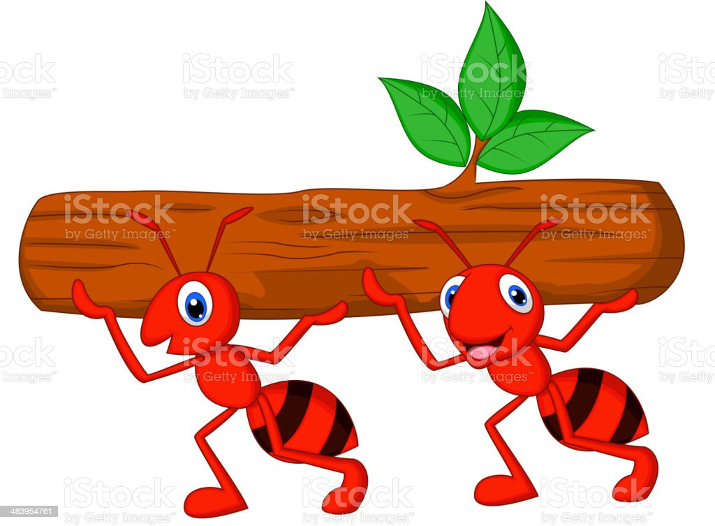Team of ants cartoon carries log vector art illustration