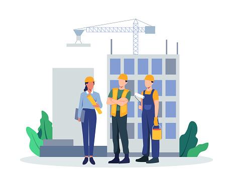 Team of builders and industrial workers