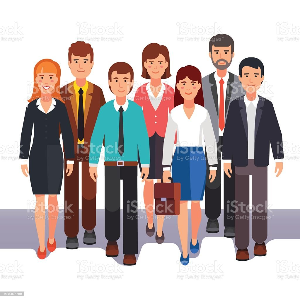Team of business men and women standing together – Vektorgrafik