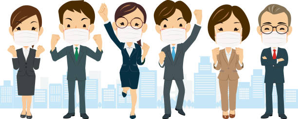 illustrazioni stock, clip art, cartoni animati e icone di tendenza di a team of businessmen and women wearing masks on their backs #01 - solo giapponesi