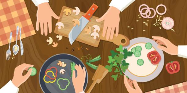 stockillustraties, clipart, cartoons en iconen met team of chefs preparing food top view - breakfast table