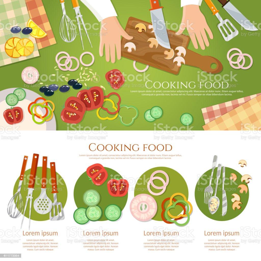 Team of chefs preparing food top view vector art illustration
