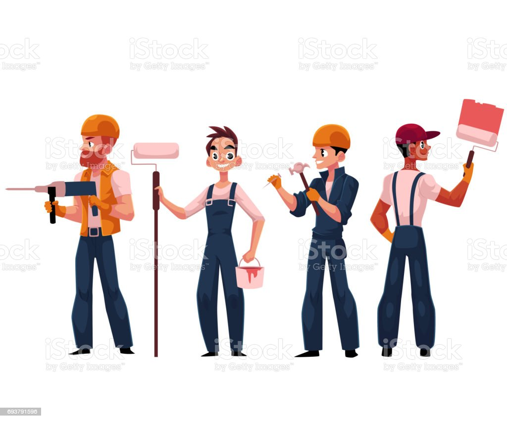 team of construction workers builders painters wearing helmets and