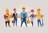 Vector Set of 5 Construction Professionals.